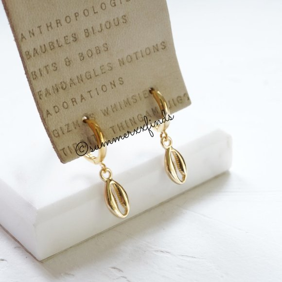 Anthropologie 14K Gold Shell Huggie Drop Earrings
